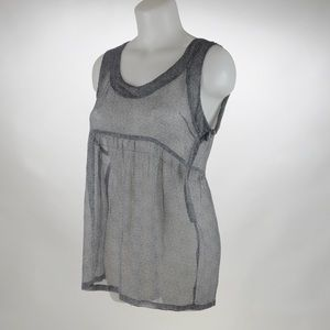 Valette Gray Sheer Top Size Small